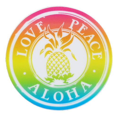 Sticker - Love Peace Aloha - Shave Ice - 2 inch circle