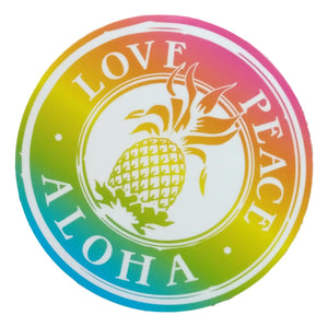 Sticker - Love Peace Aloha - Shave Ice - 4 inch circle