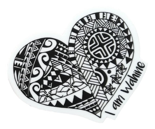 Sticker - I am Wahine - Black and White - 3 inch