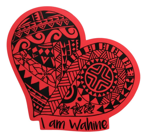 Sticker - I am Wahine - Red - 6 inch