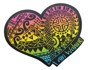 Sticker - I am Wahine - Black Rainbow - 6 inch