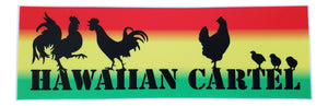 Sticker - Hawaiian Cartel Chickens - Rasta - 6 inch