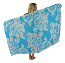 Island Style - Small Tiare Sarong - Full - Lt. Blue / White