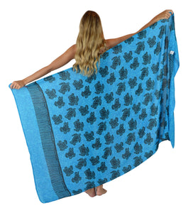 Island Style - Small Turtle Motif Full Sarong - Turquoise