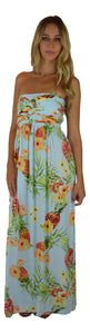 Secret Beach - Wailea Dress - Long - Hibiscus Pineapple - Light Blue