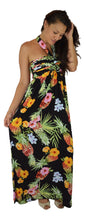 Secret Beach - Wailea Dress - Long - Hibiscus Pineapple - Black