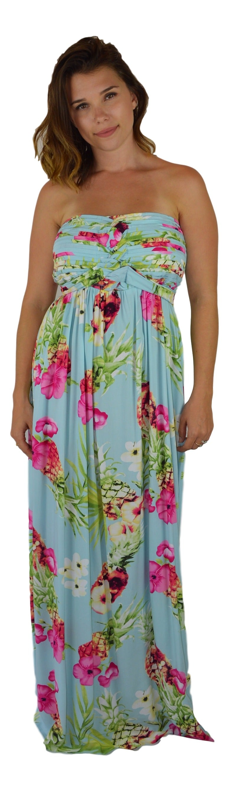 Secret Beach - Wailea Dress - Long - Hibiscus Pineapple - Blue