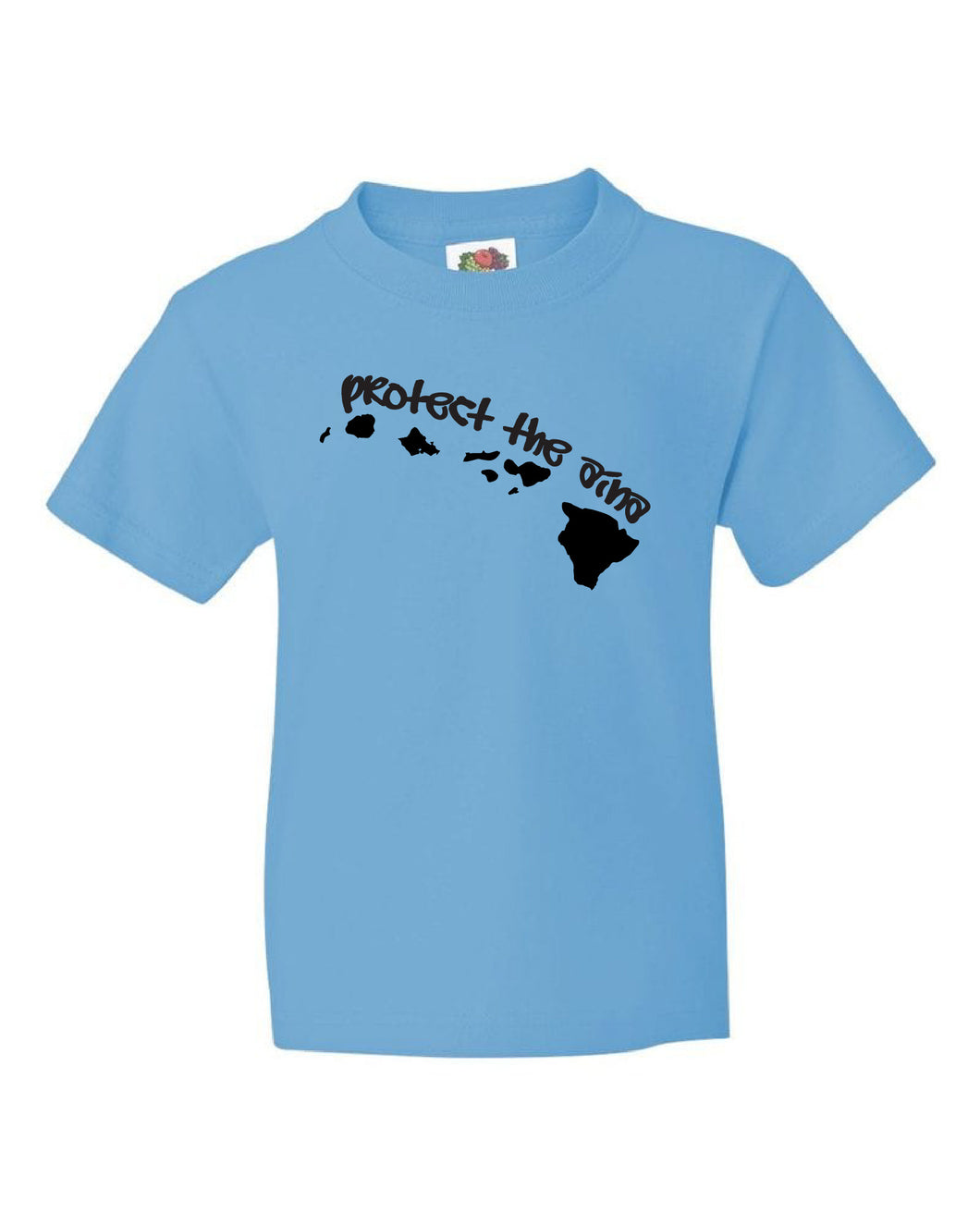 KIDS T-SHIRT - PROTECT THE AINA - BLACK ON BLUE - L
