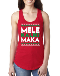Mele Kalikimaka Red Tank Top - Ladies