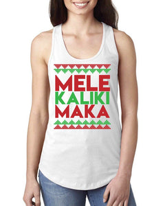 Mele Kalikimaka White Tank Top - Ladies