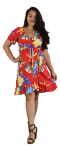 Tropical Print Wrap Dress - Red