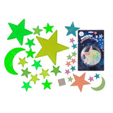 Multicoloured Fluorescent Moon and Stars (15 pieces)