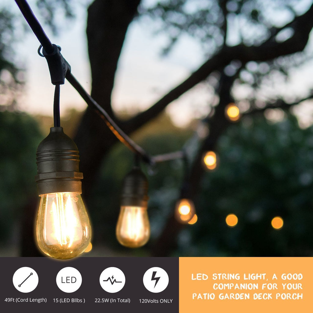 49Ft LED Outdoor String Lights