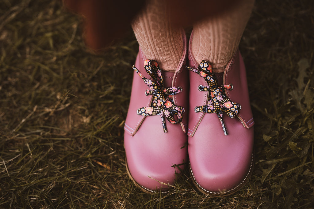Harper floral Nice Laces paired with pink Mon Petit children's shoes. Perfect accessory for shoe and boot lovers.
