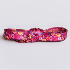 Floral Shoelaces.  Purple, pink and yellow flower shoelaces.