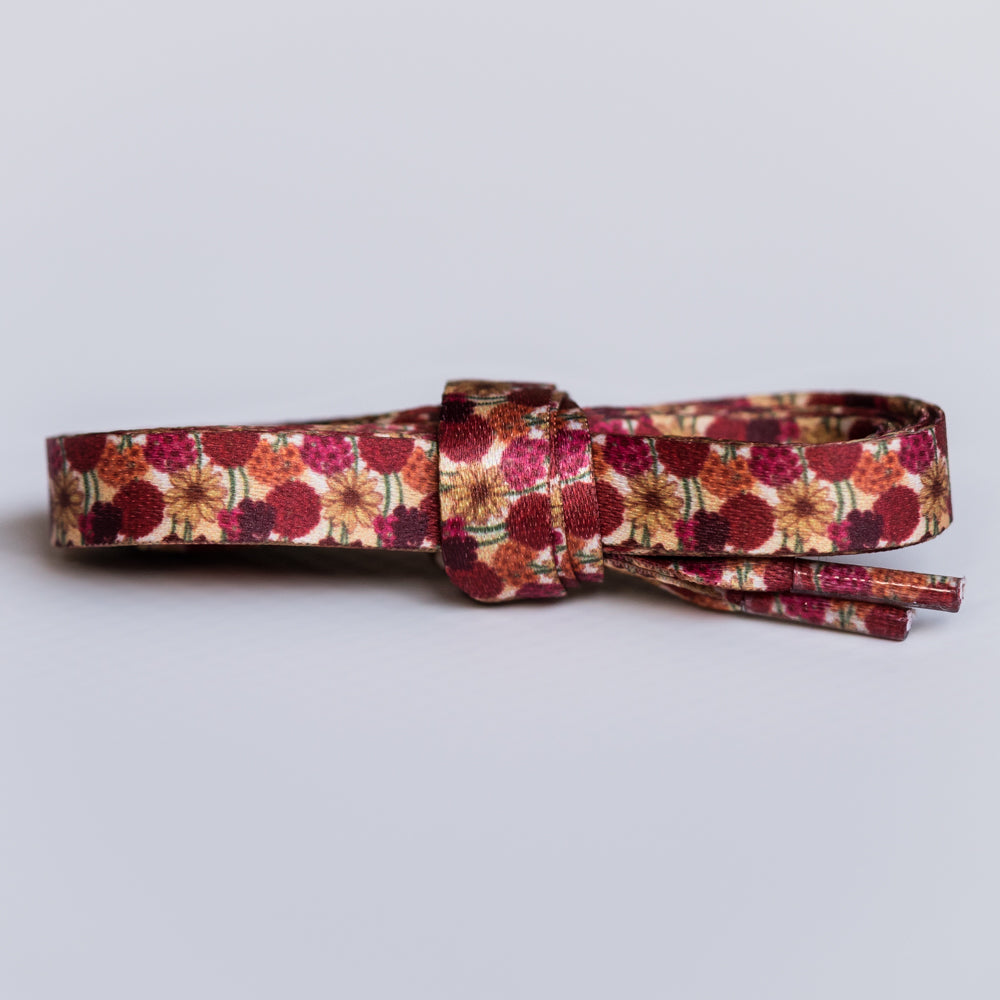 Red and yellow floral shoelaces