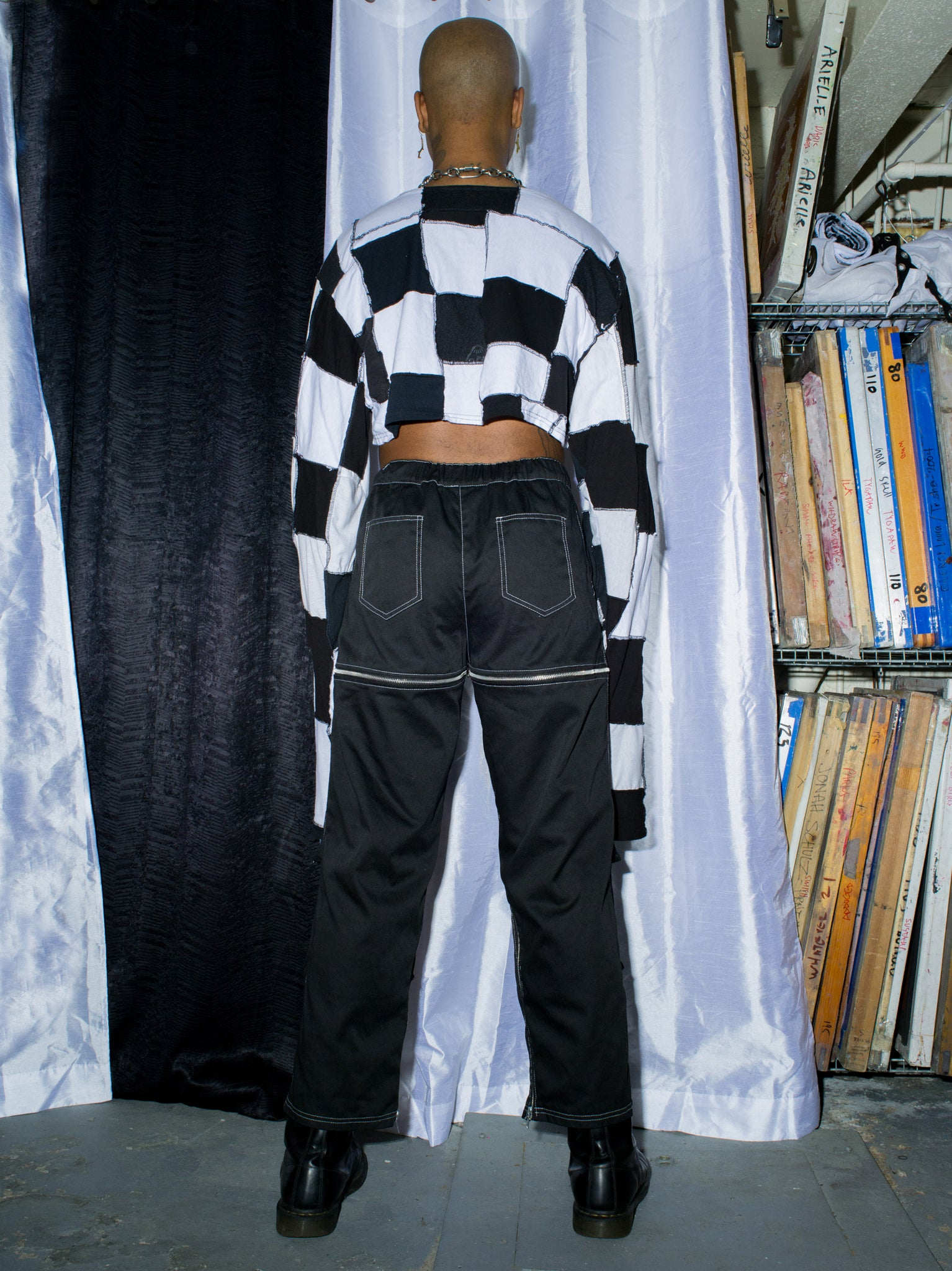 Patchwork Checkerboard Longsleeve Crop Top