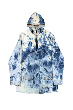 Acid Wash Double Layer Hooded Jacket