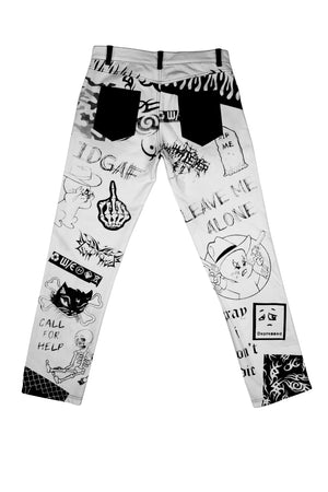 LEAVE ME ALONE Tattoo Jeans