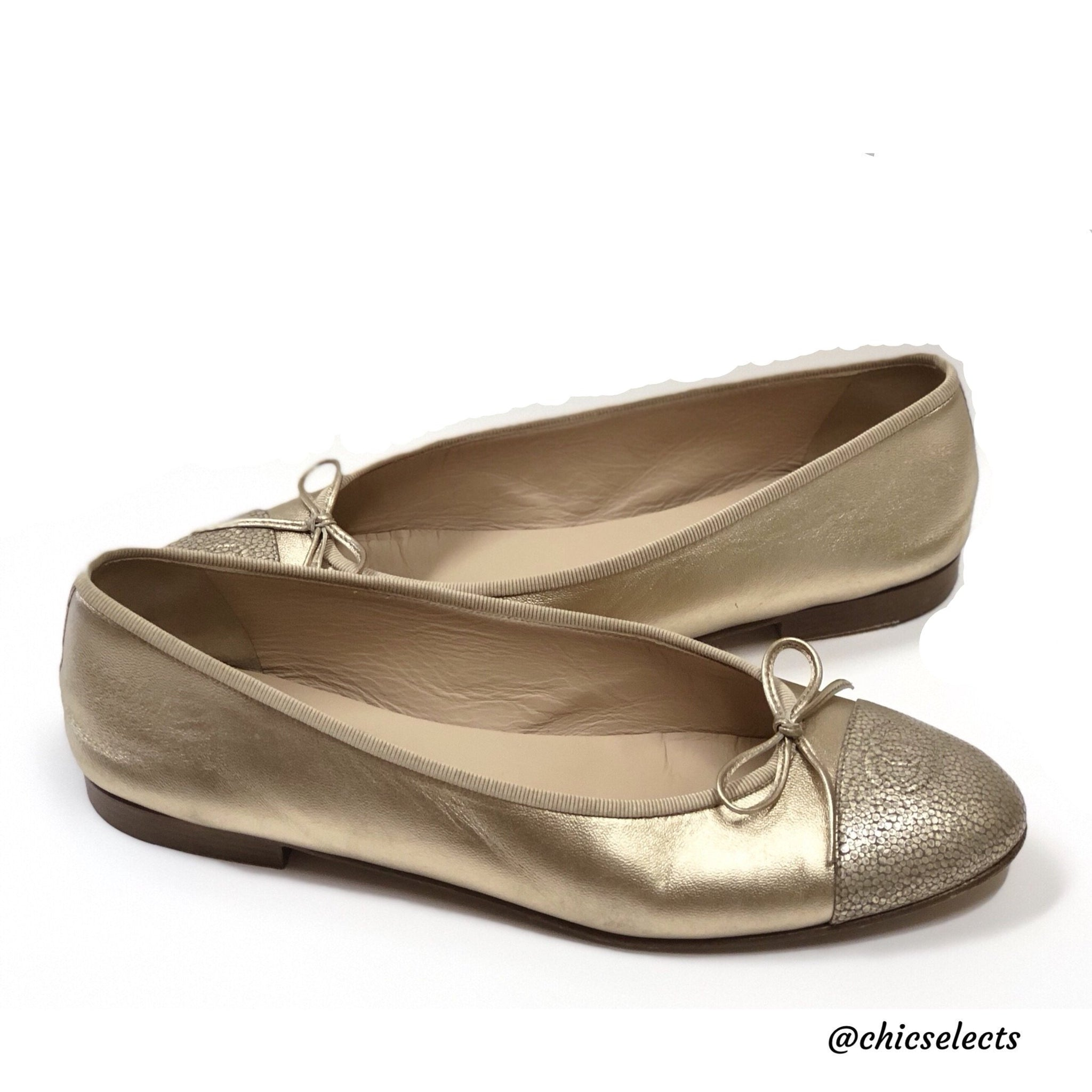 61e404af211b9 CHANEL CCCAP TOE METALLIC LEATHER BALLERINA FLATS SIZE 42 – Chic ...