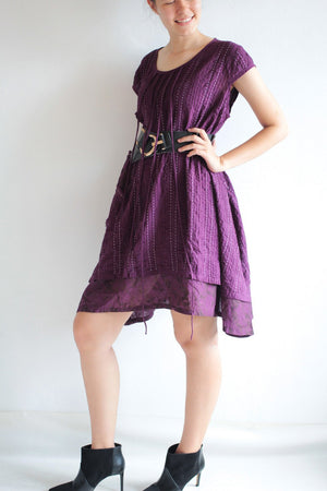 Patchwork hand line stitches/pleated /embroidery/dress  Size L (1404) Plus size  And custom order size and color