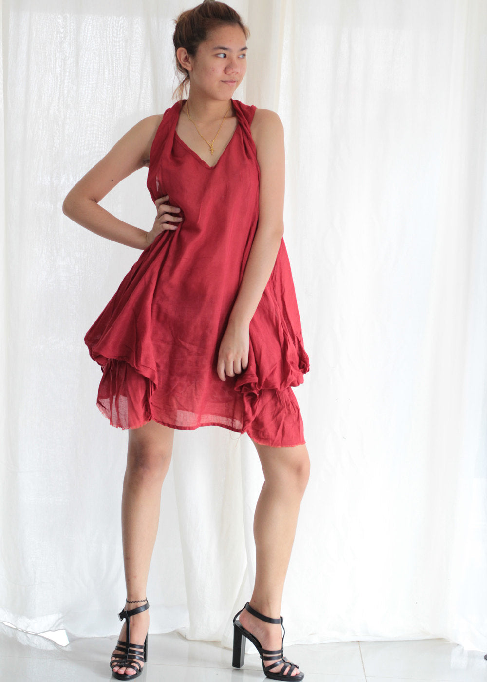 Mini dress summer dress  mixed silk Size L Photo colour No.3 Red  (157)