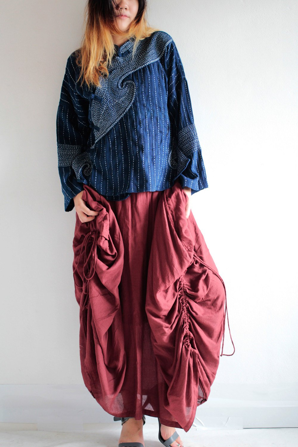 Hippie Skirt..420A Red No.3 mix silk...