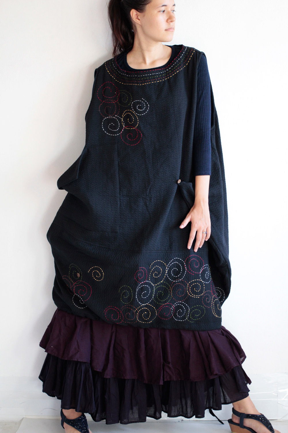 No.1403C Bohemian Outfit Dress With hand embroidery  (one size fit most)