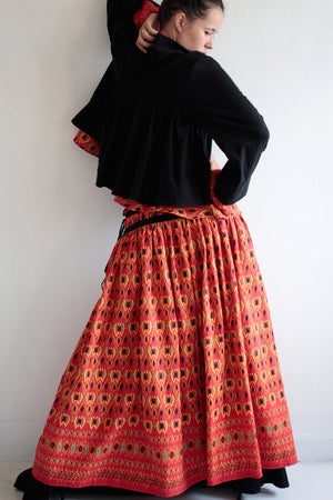 Skirt full length  maxi skirt.1478..cotton Printed two layer (one size fits S-L)