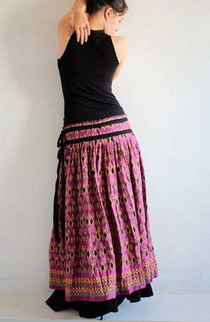 Maxi skirt 2 layers full length maxi skirt...cotton Printed  (one size fits S-L)