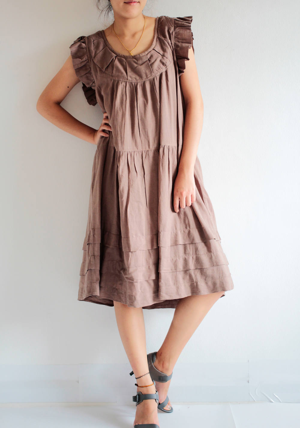 Dress ...cotton mix silk and  linen (1419) / Maternity Dress /Lining/ Casual Dress in M sizes