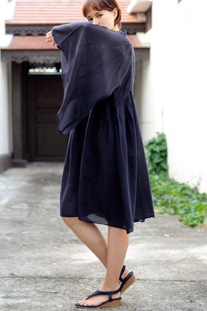 Dress/Asymmetrical dress cotton mixed with silk (one size fits most(1435)