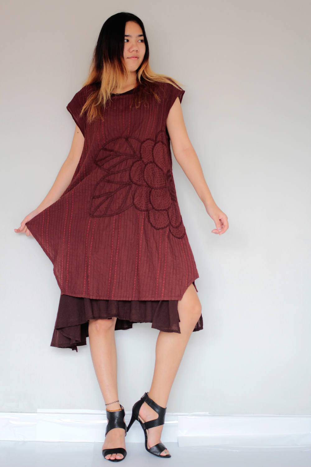 Two layered dress hand embroidery Maroon red/Dark red ...1160