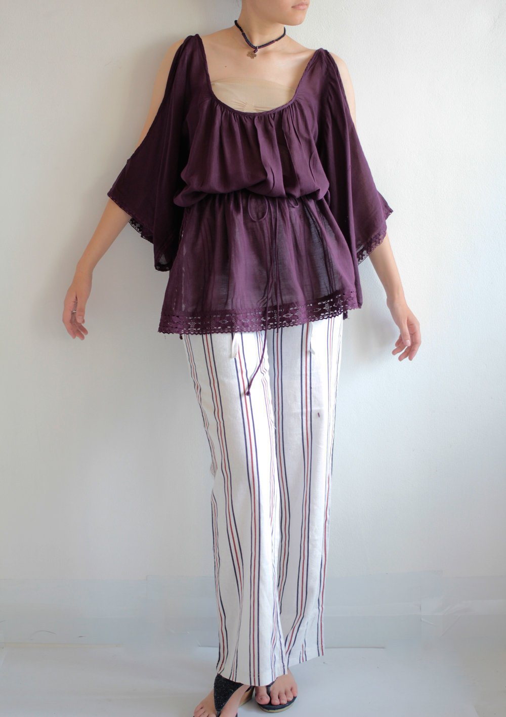 Blouses/Tunics Purple  mixed silk (one size fits M-XL)1415