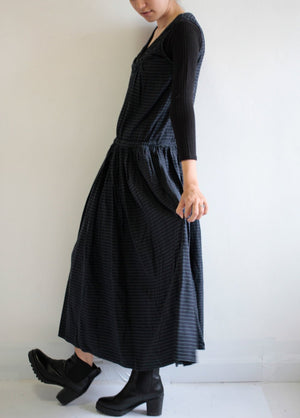Long Dress striped Cotton Mixed wool  Sleeveless Dress (1196) one size M-L