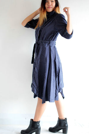 knee length dress cotton mix wool striped M size long sleeve