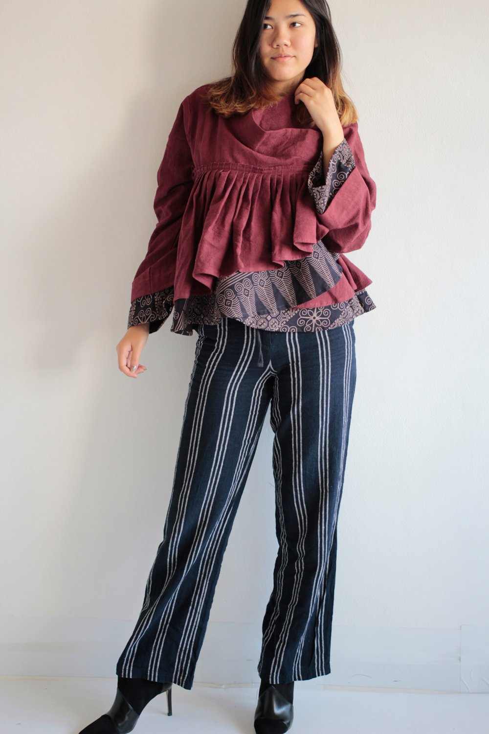 Blouse Long sleeve V neck kimono style dark red thick cotton combination with printed one size fit M-L