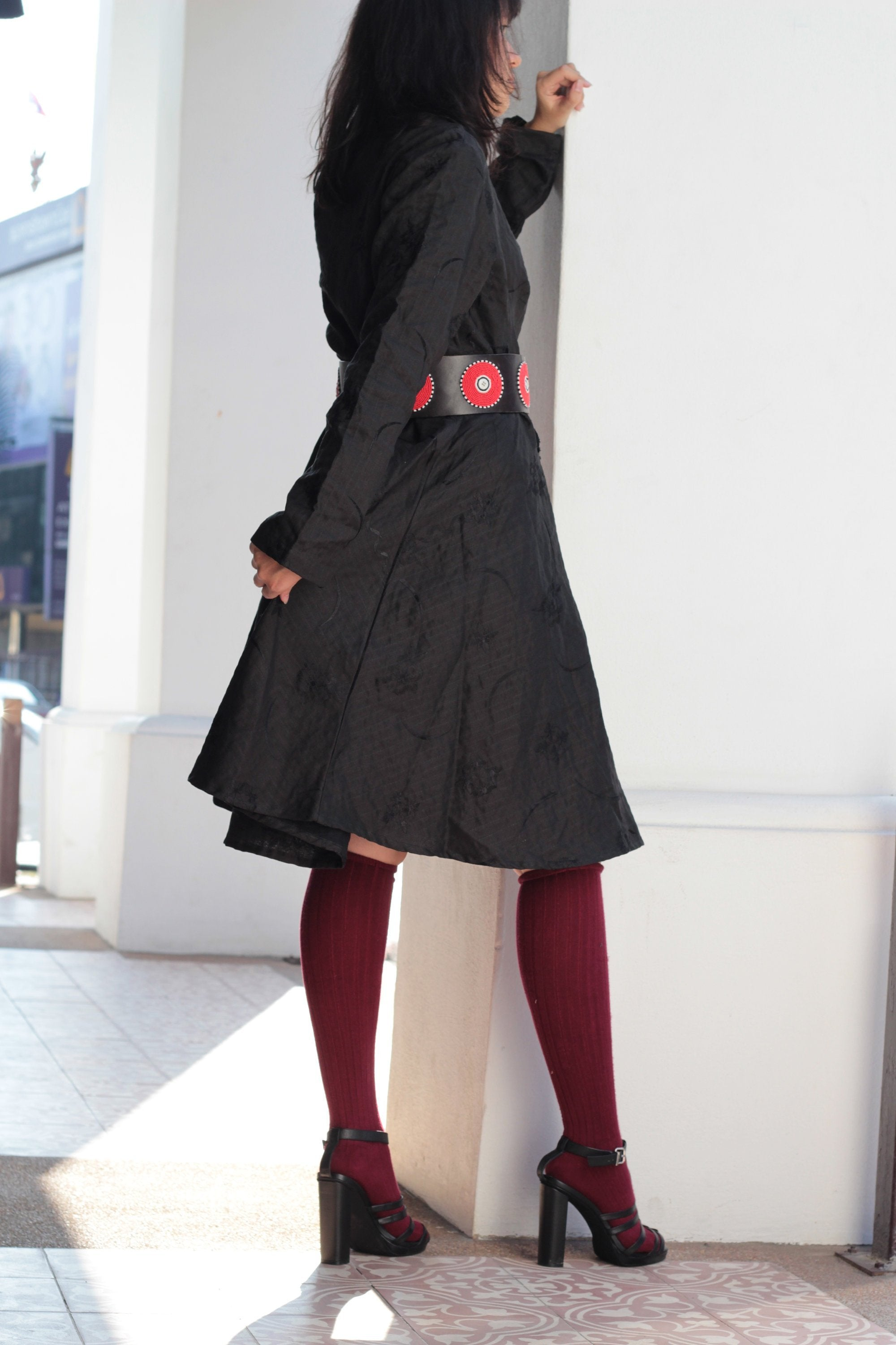 Dress for winter linen knee length two  Layers hand stitches dress for autumn & winter size M