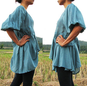 No.349B Bohemian Outfit Ballerina.. Blouse.. Blue mix silk (M) Boho and funky available in all colour