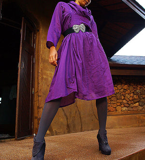 Dress/Iris...Autumn dress purple mix silk (one size fits most)