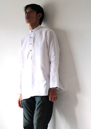 Men's polo collar shirt with buttons 100% linen (B 5706)