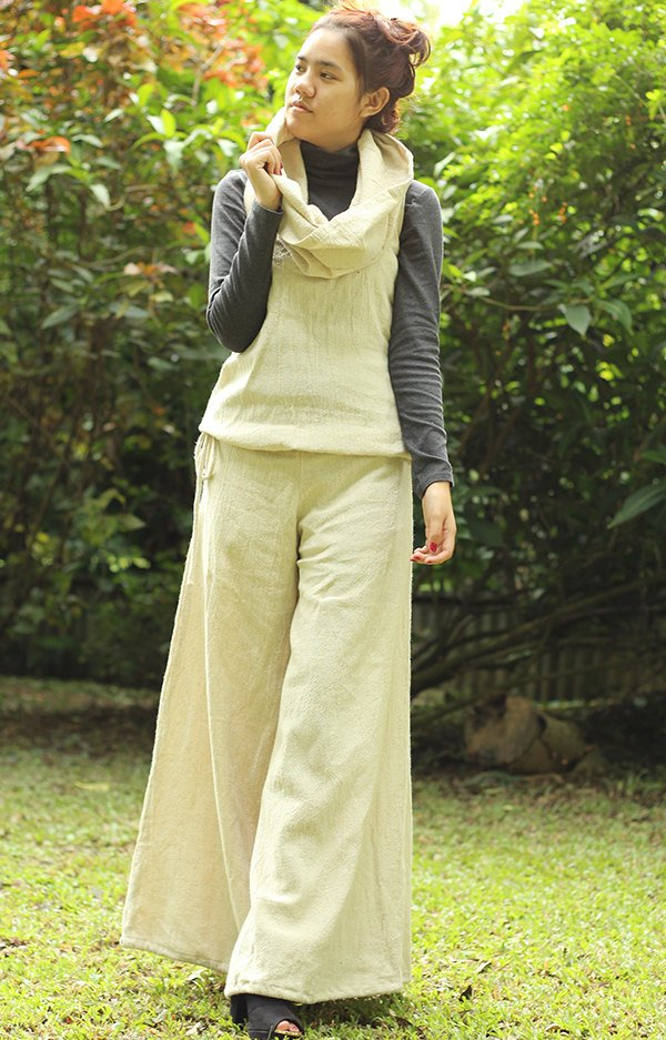 Hemp Hoodie Jumpsuit with hood Hemp/cotton natural available in size S,M,L  / Boho/ long pants /hippie / wide side...(1457)