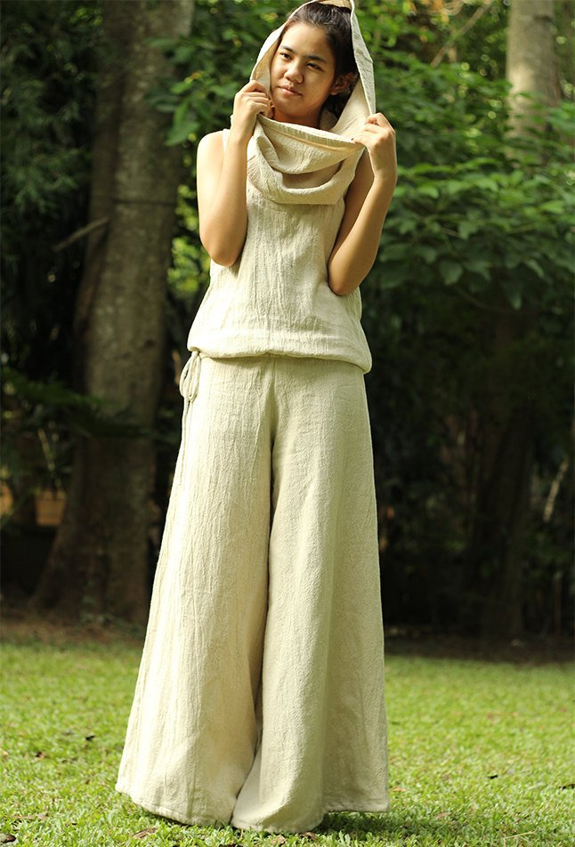 Hemp Jumpsuit with hoodie natural colour size S,M,L