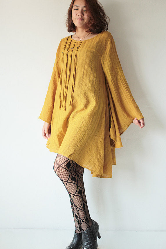 Blouses/tunics in time...linen/cotton ...Mustard yellow..... long sleeve / maternity / urban / Japanese / Boho...1447