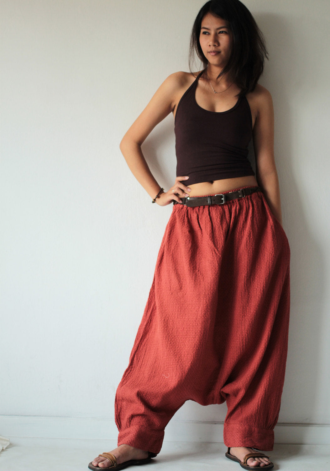 Pants..Hippie long pants1410 Earth Red/ M,L,X/harem/elastic/funky/cotton/brown/black/ivory/indigo/red/hippie pant/capri/mustard