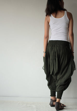 Pants..Funky harem Pants (428) long pants.Linen/cotton One size fits M-L,  Boho/chic/funky/drawstring..Shirring/smock waist