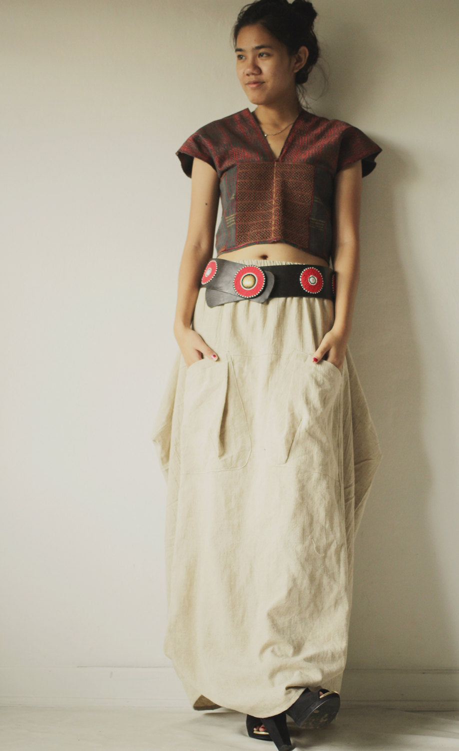 Hemp Funky Skirt...Hemp mix linen Natural avalible in size M & L