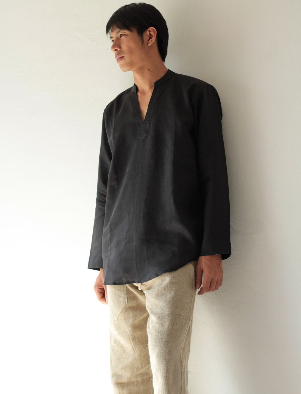 No.5705 Bohemian Outfit 100% Linen long sleeve men's shirt