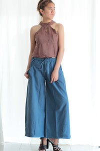 Pants/Take a walk long pants  1427  Chambray linen available in all colours   (one size)