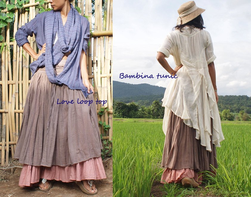 Sweet spot...2 layers full maxi skirt...Linen/cotton  (one size fits S-L)